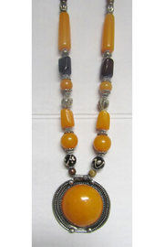 KIMBALS Tibetan Bohemian Style Beaded Necklace In Silver/Amber/Brown - Product Mini Image