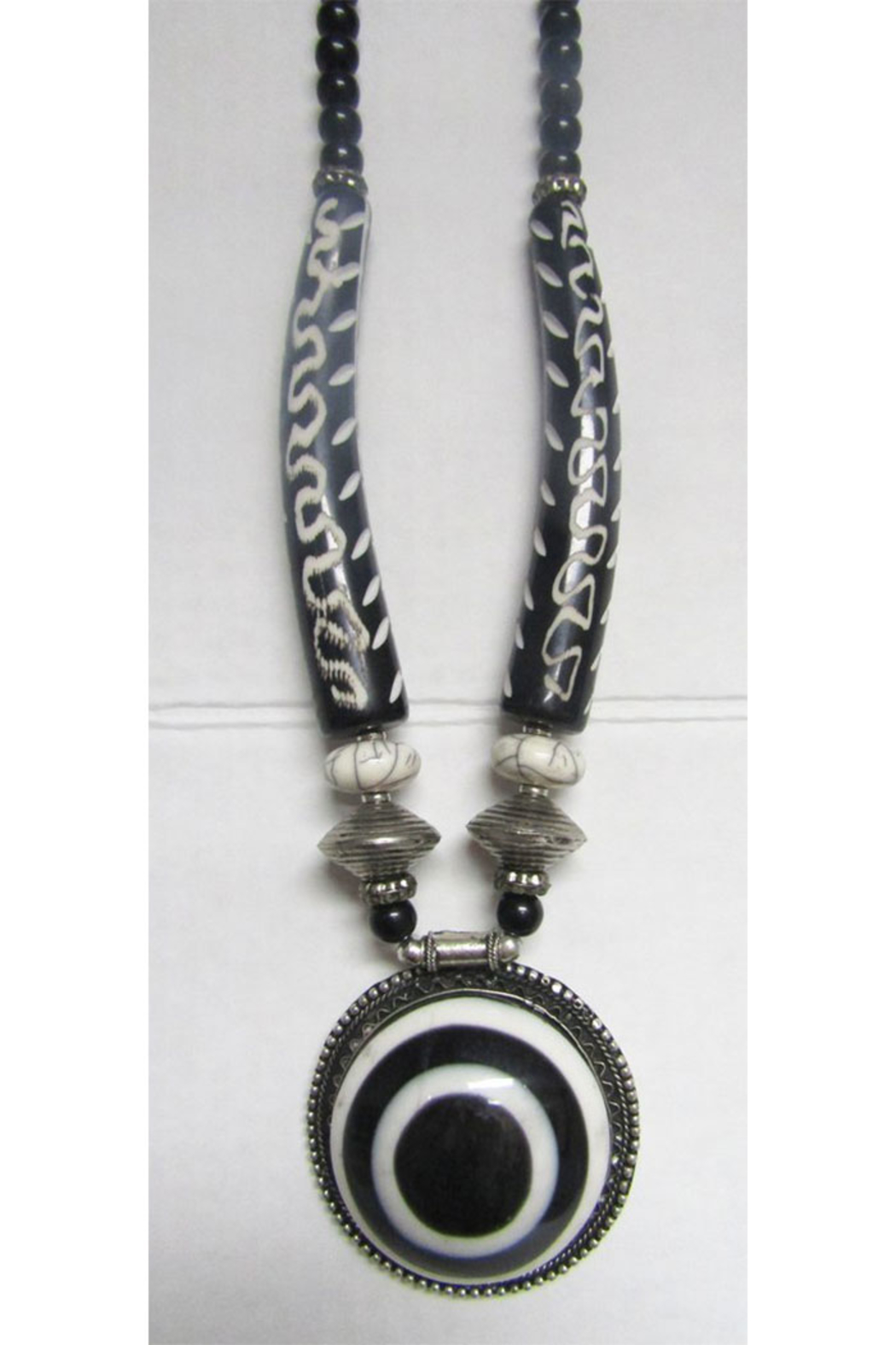 KIMBALS Tibetan Bohemian Style Beaded Necklace In Silver And Handcarved Beads - Main Image