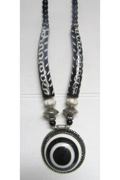 KIMBALS Tibetan Bohemian Style Beaded Necklace In Silver And Handcarved Beads - Alternate List Image