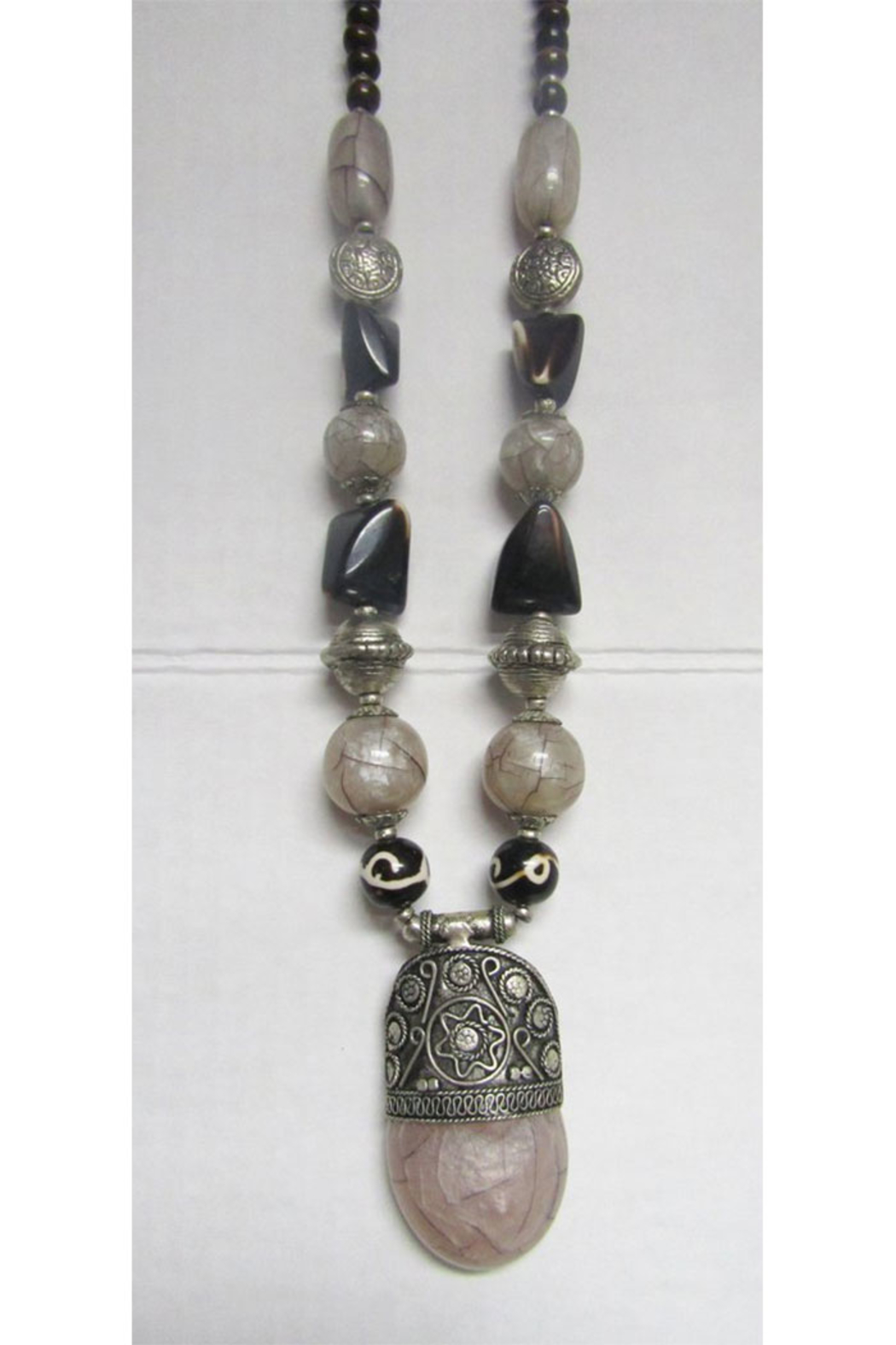 KIMBALS Tibetan Bohemian Style Beaded Necklace In Silver/Brown/Gray-Tone Chunky Beads - Main Image