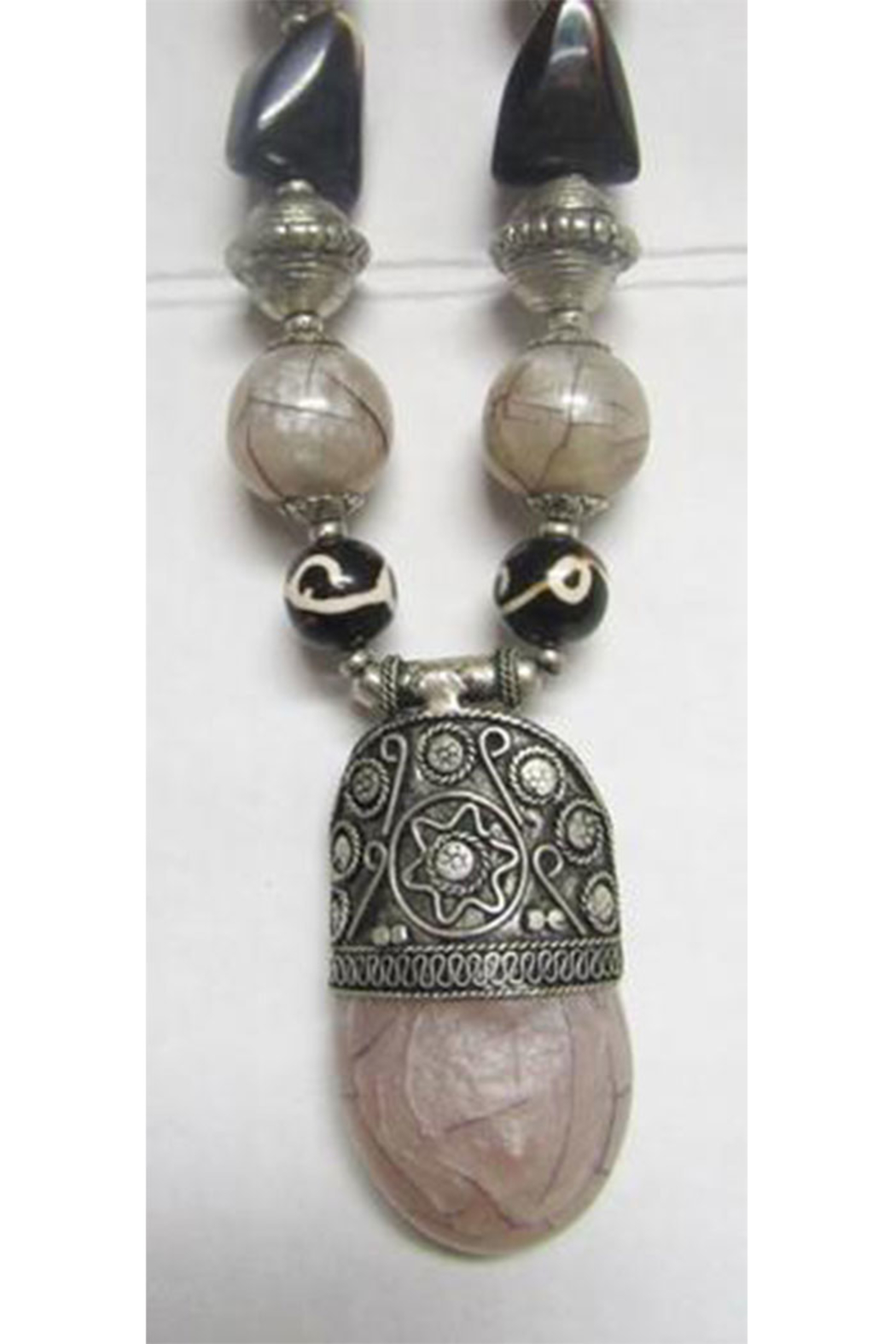 KIMBALS Tibetan Bohemian Style Beaded Necklace In Silver/Brown/Gray-Tone Chunky Beads - Front Full Image