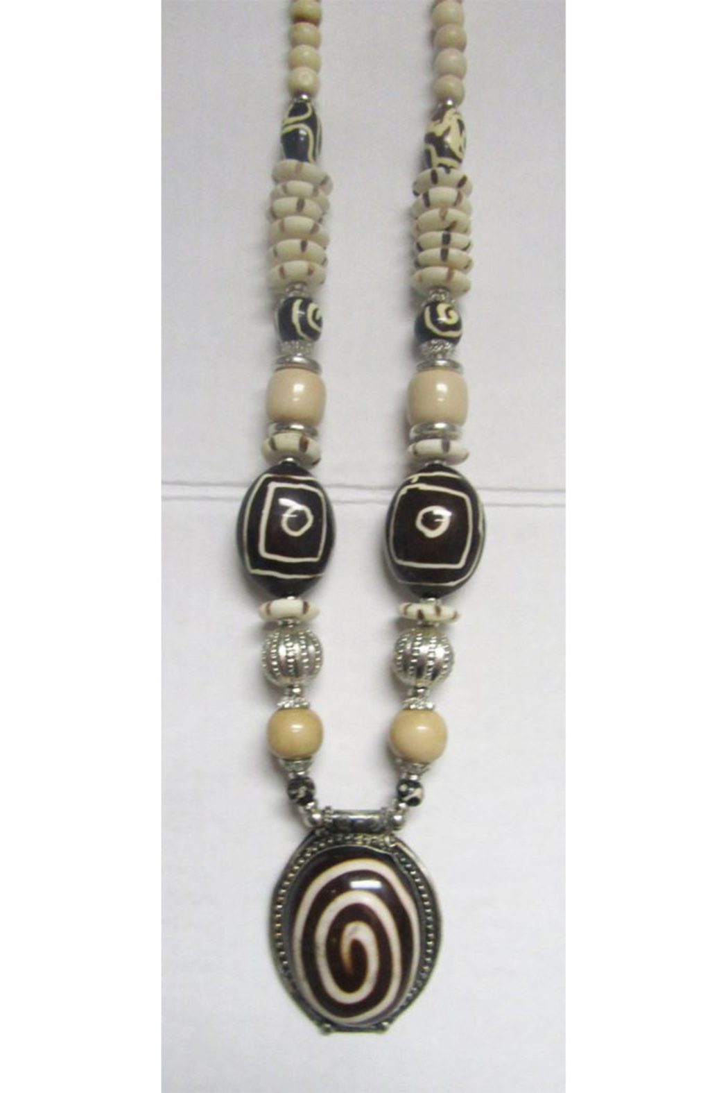 KIMBALS Tibetan Bohemian Style Beaded Necklace In Silver/Brown/Ivory/Tan - Main Image