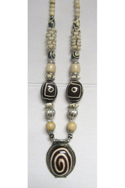 KIMBALS Tibetan Bohemian Style Beaded Necklace In Silver/Brown/Ivory/Tan - Front cropped