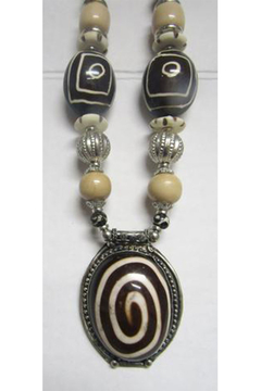 KIMBALS Tibetan Bohemian Style Beaded Necklace In Silver/Brown/Ivory/Tan - Alternate List Image