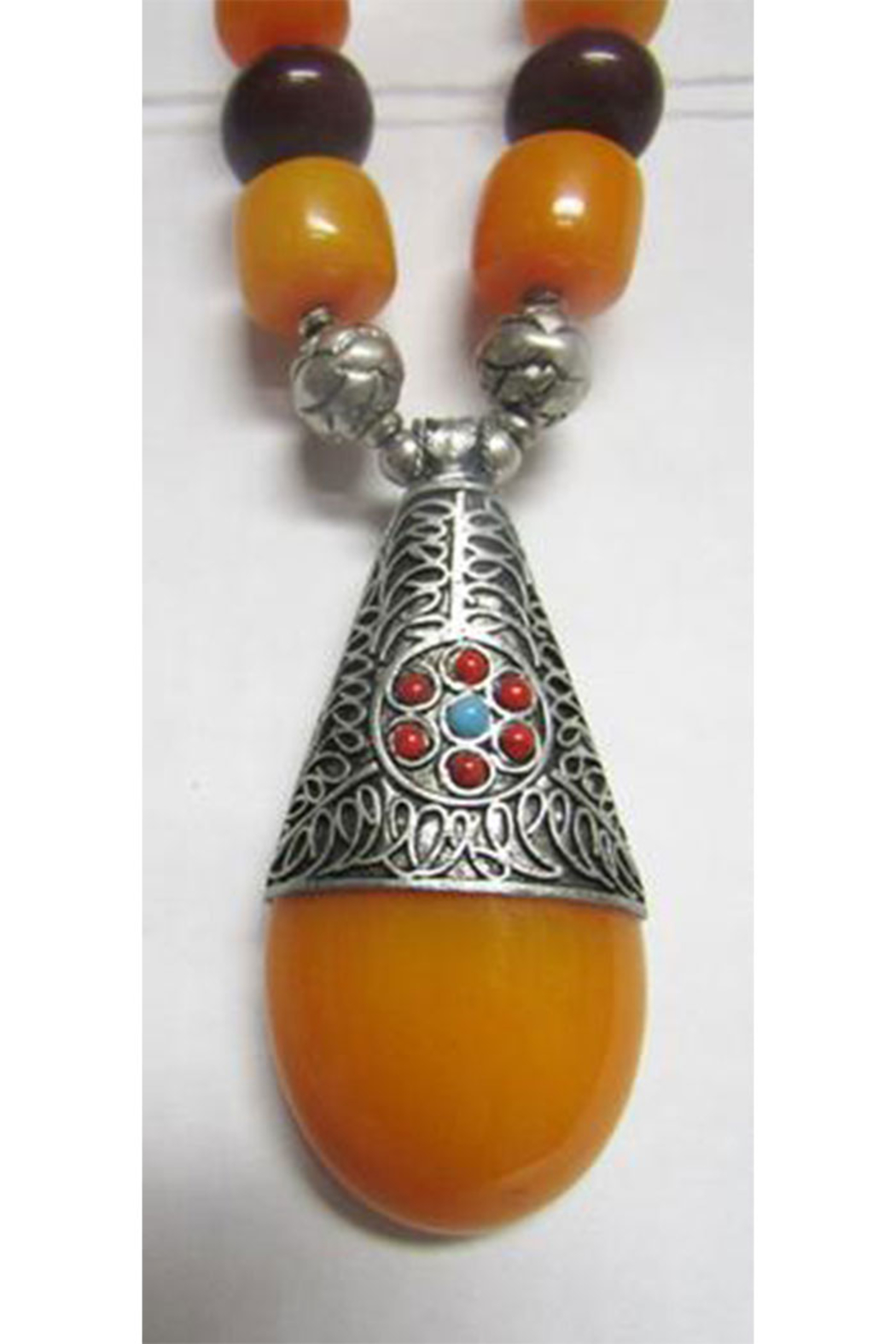 KIMBALS Tibetan Bohemian Style Beaded Necklace In Silver/Carnelian/Amber - Front Full Image