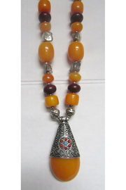 KIMBALS Tibetan Bohemian Style Beaded Necklace In Silver/Carnelian/Amber - Product Mini Image
