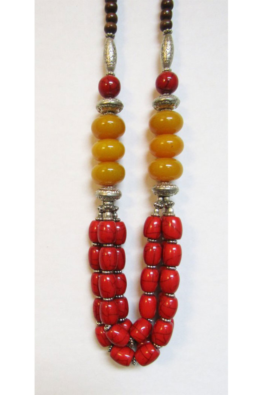KIMBALS Tibetan Bohemian Style Beaded Necklace In Silver/Red/Amber - Main Image