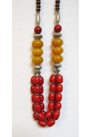 KIMBALS Tibetan Bohemian Style Beaded Necklace In Silver/Red/Amber - Product Mini Image