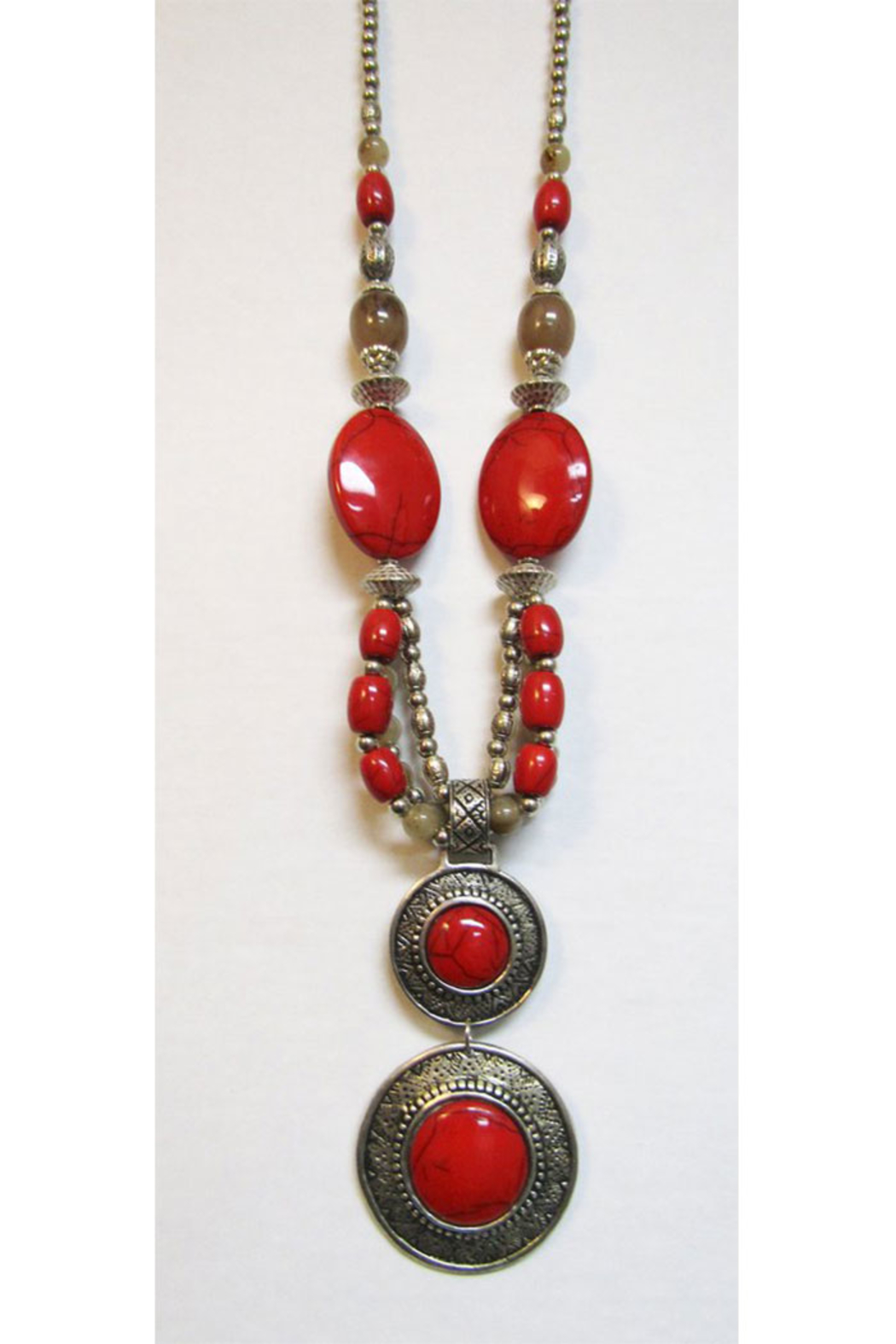 KIMBALS Tibetan Bohemian Style Beaded Necklace In Silver/Red - Main Image