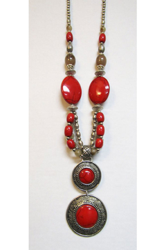 KIMBALS Tibetan Bohemian Style Beaded Necklace In Silver/Red - Product List Image