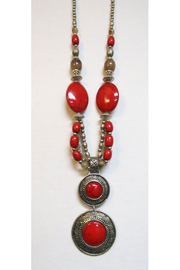 KIMBALS Tibetan Bohemian Style Beaded Necklace In Silver/Red - Front cropped
