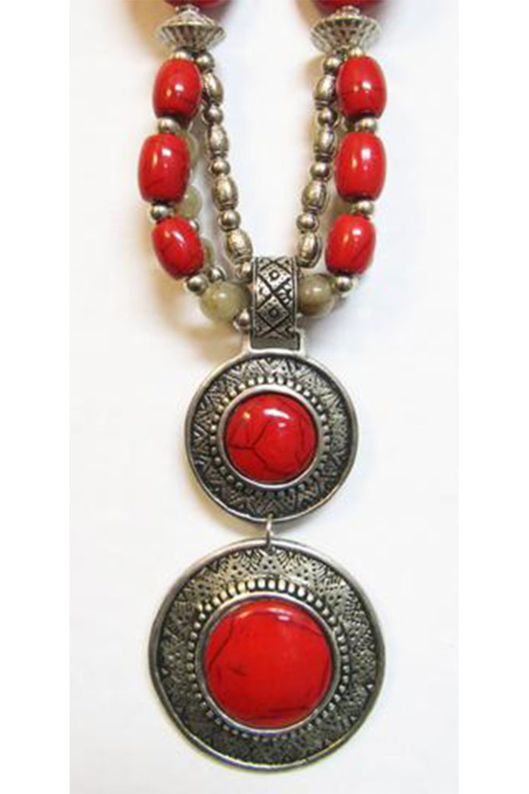 KIMBALS Tibetan Bohemian Style Beaded Necklace In Silver/Red - Front Full Image