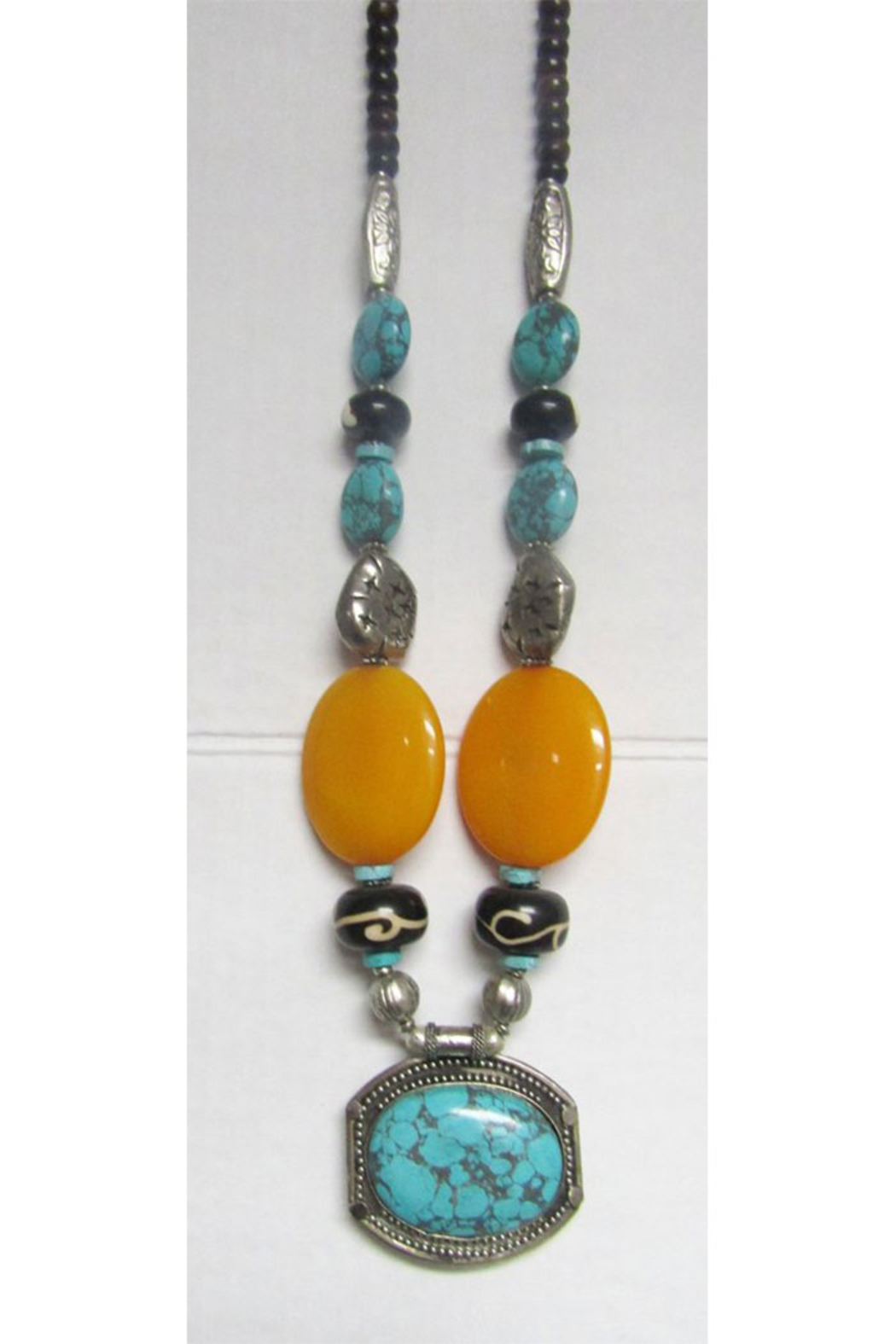 KIMBALS Tibetan Bohemian Style Beaded Necklace In Silver/Turquoise/Amber - Main Image