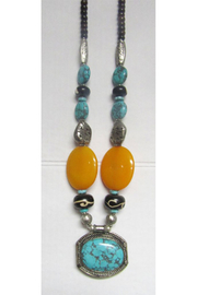 KIMBALS Tibetan Bohemian Style Beaded Necklace In Silver/Turquoise/Amber - Product Mini Image