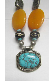 KIMBALS Tibetan Bohemian Style Beaded Necklace In Silver/Turquoise/Amber - Front full body