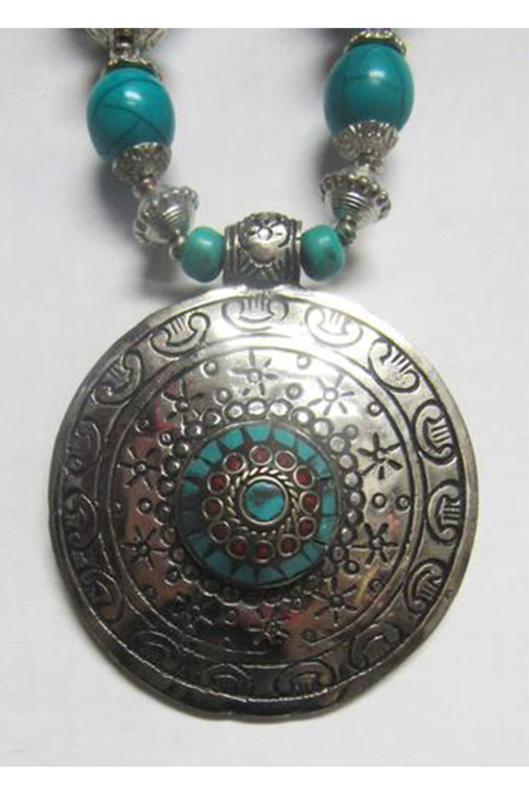 KIMBALS Tibetan Bohemian Style Beaded Necklace In Silver/Turquoise - Front Full Image