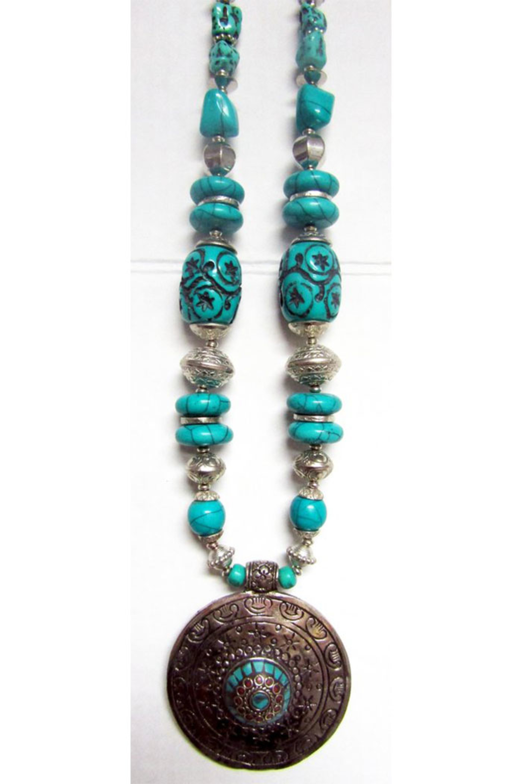 KIMBALS Tibetan Bohemian Style Beaded Necklace In Silver/Turquoise - Main Image