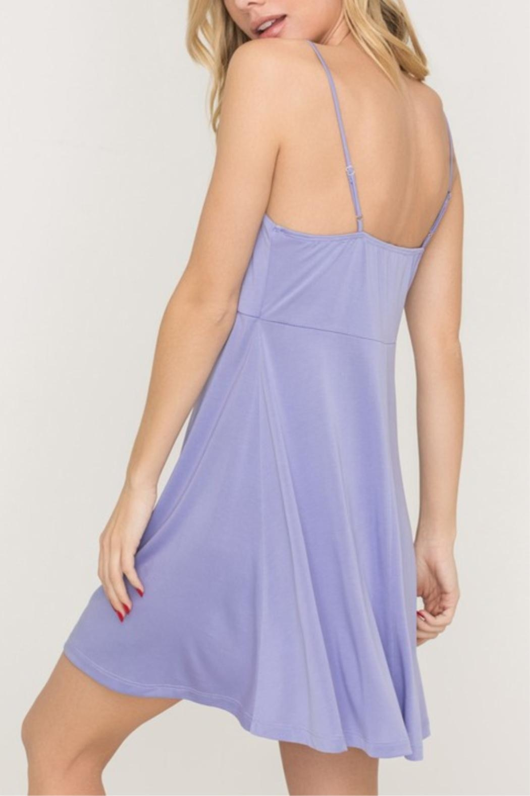 Lush Tie-Accent Flaired Mini-Dress - Side Cropped Image