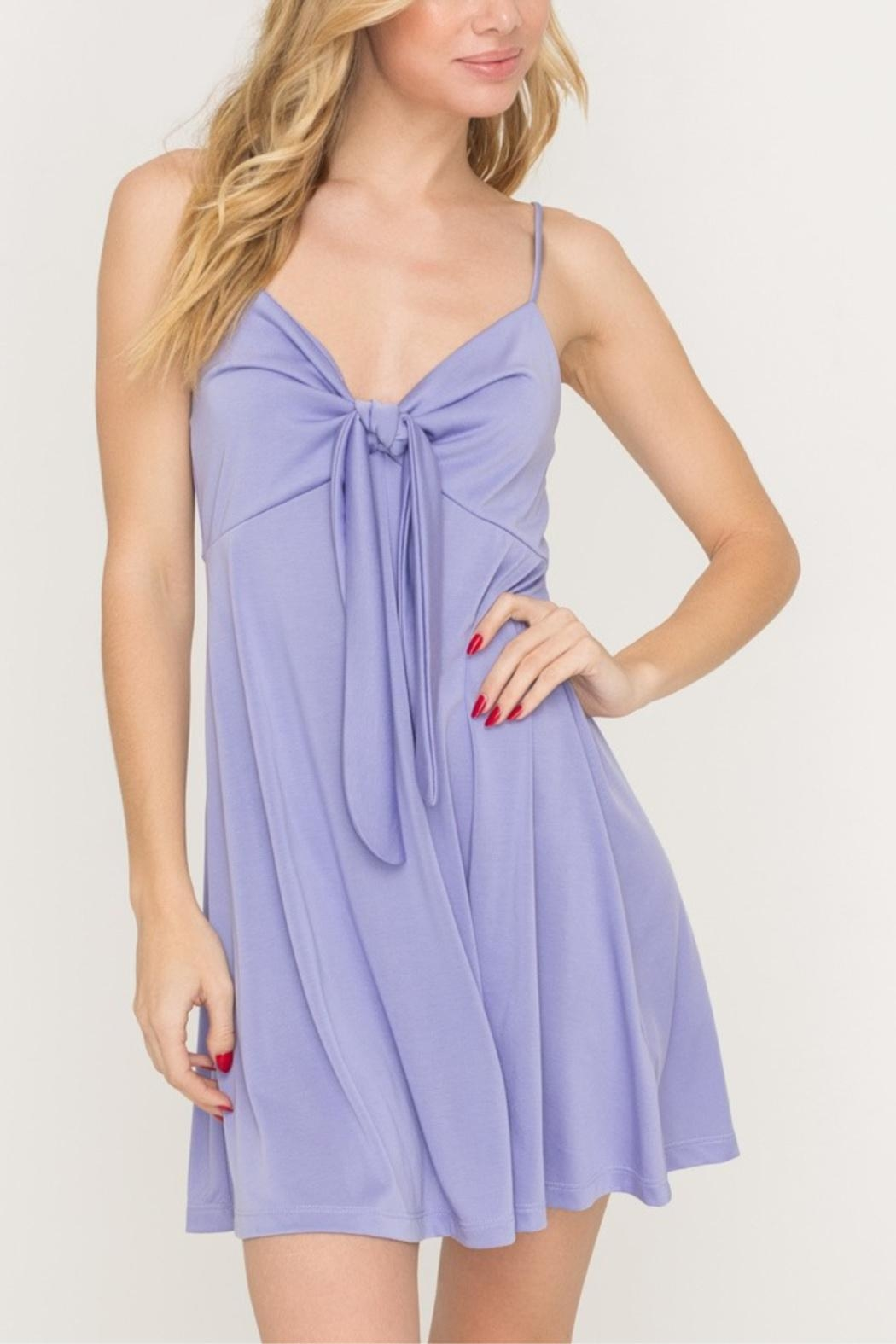 Lush Tie-Accent Flaired Mini-Dress - Main Image