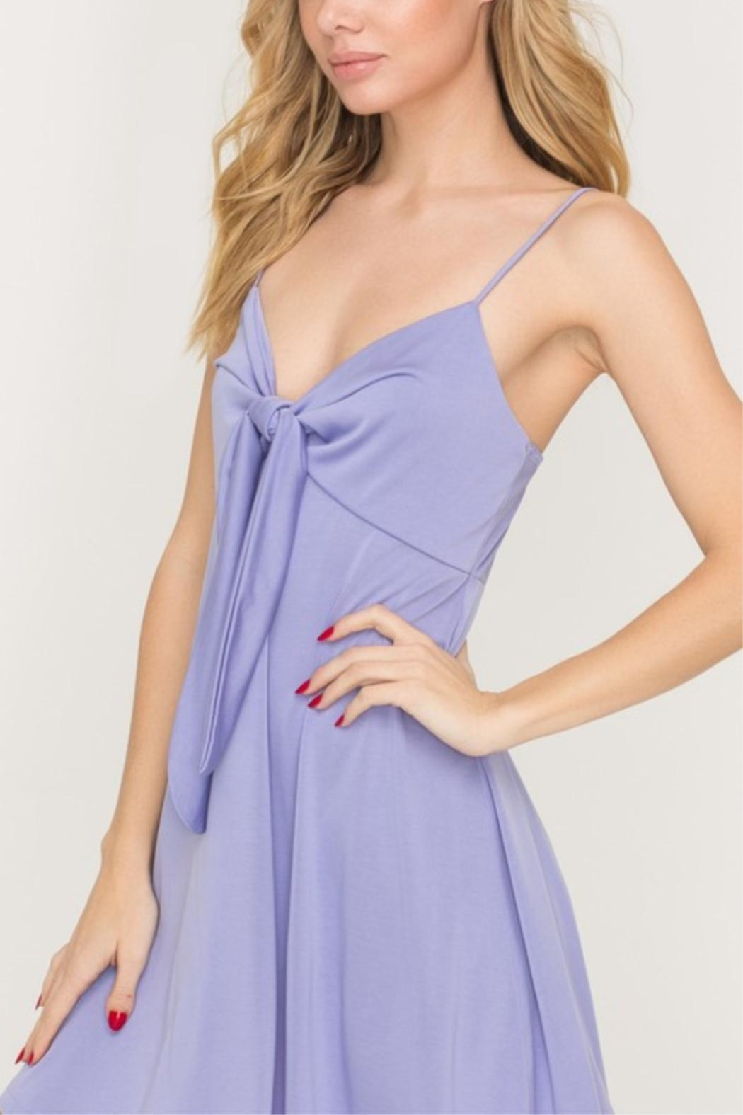 Lush Tie-Accent Flaired Mini-Dress - Front Full Image