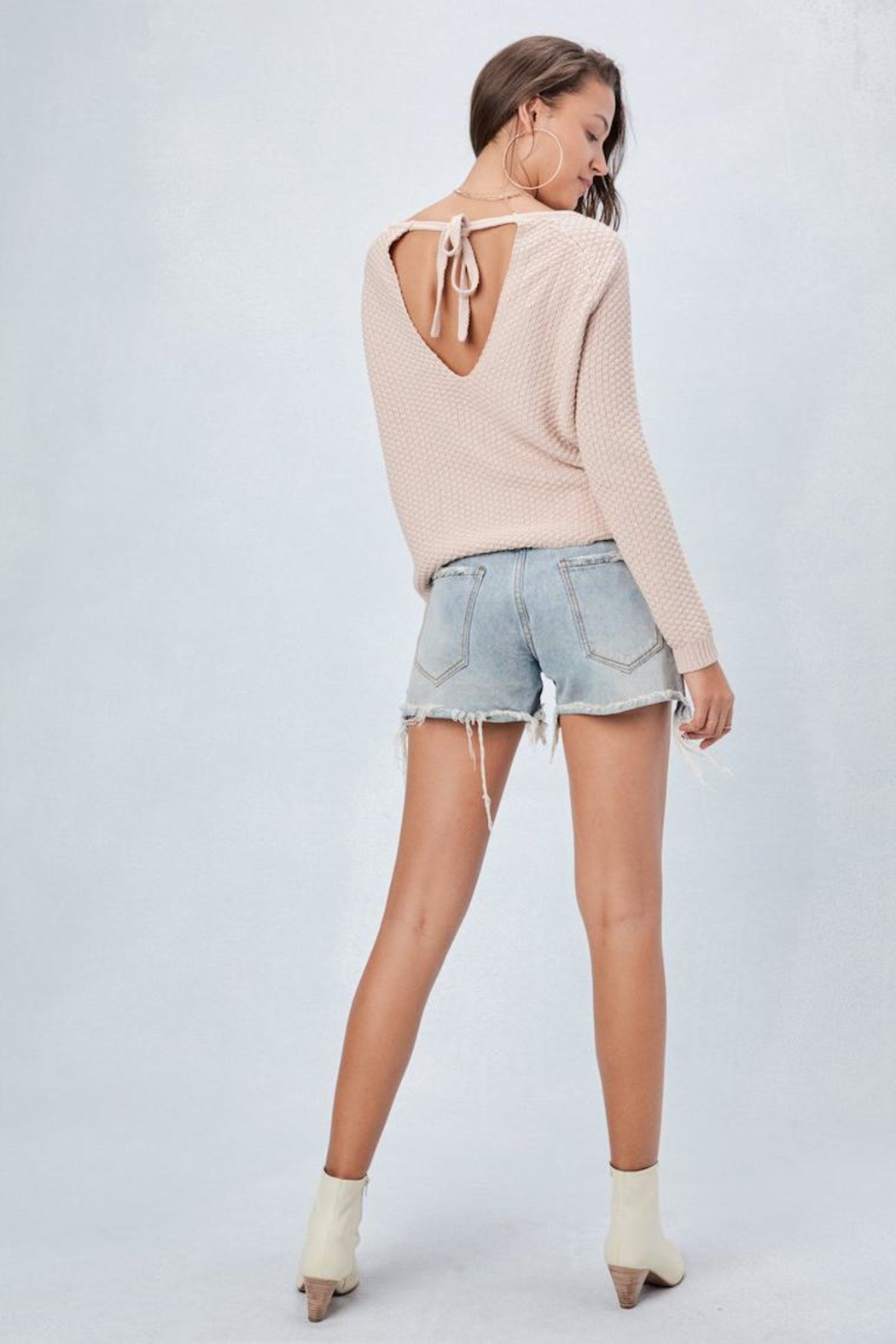 Lovestitch Tie-Back Pullover Sweater - Side Cropped Image