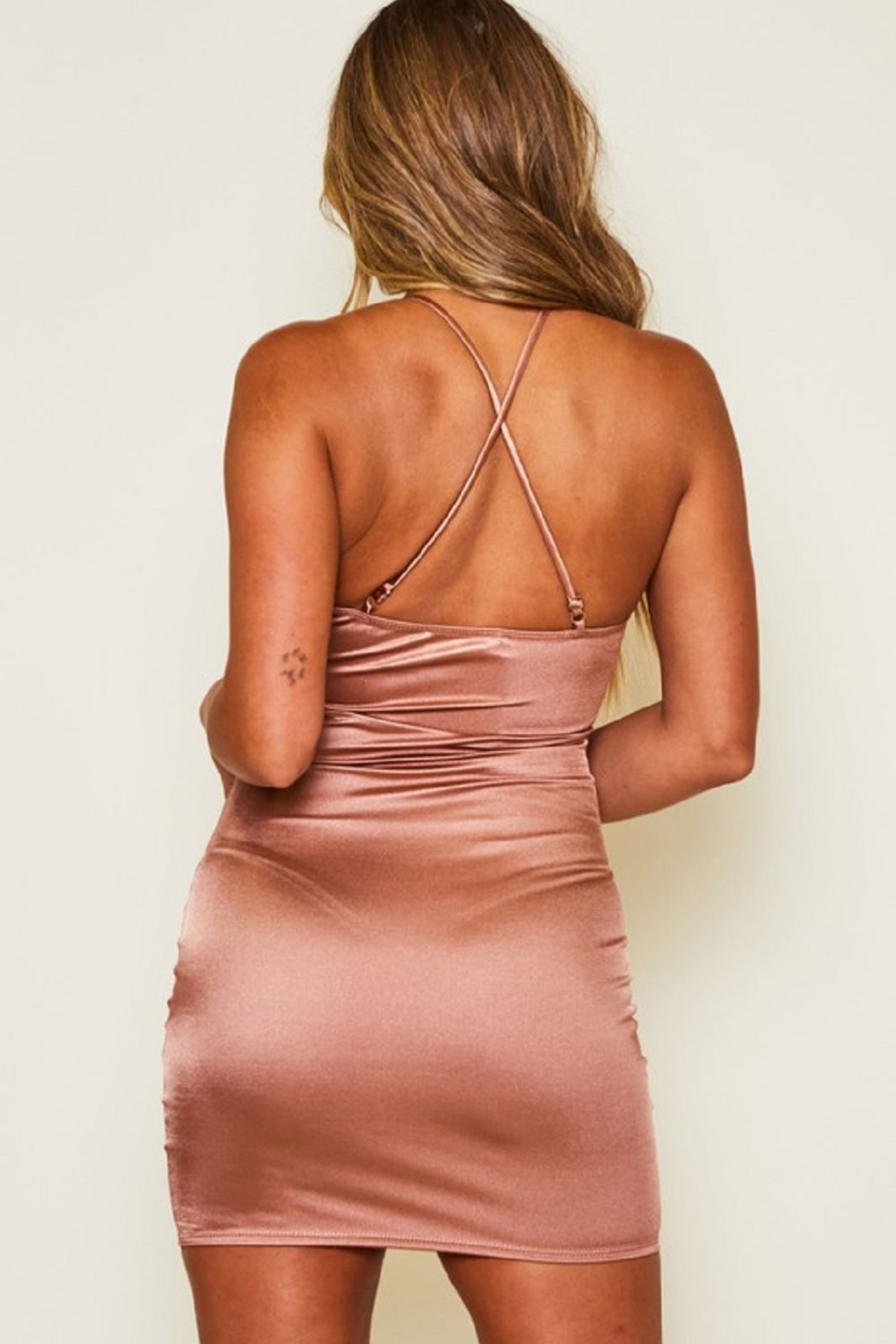 Peach Love California Tie Back Satin Dress - Side Cropped Image