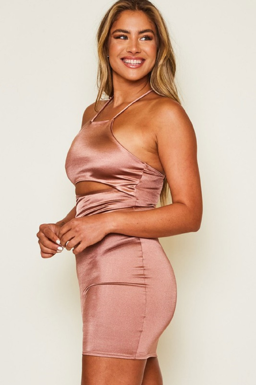 Peach Love California Tie Back Satin Dress - Front Full Image