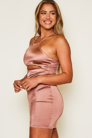 Peach Love California Tie Back Satin Dress - Front full body