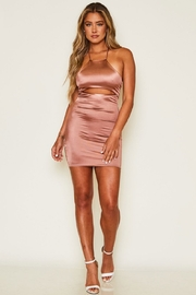 Peach Love California Tie Back Satin Dress - Front cropped