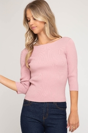 She + Sky Tie-Back Sweater Top - Front full body