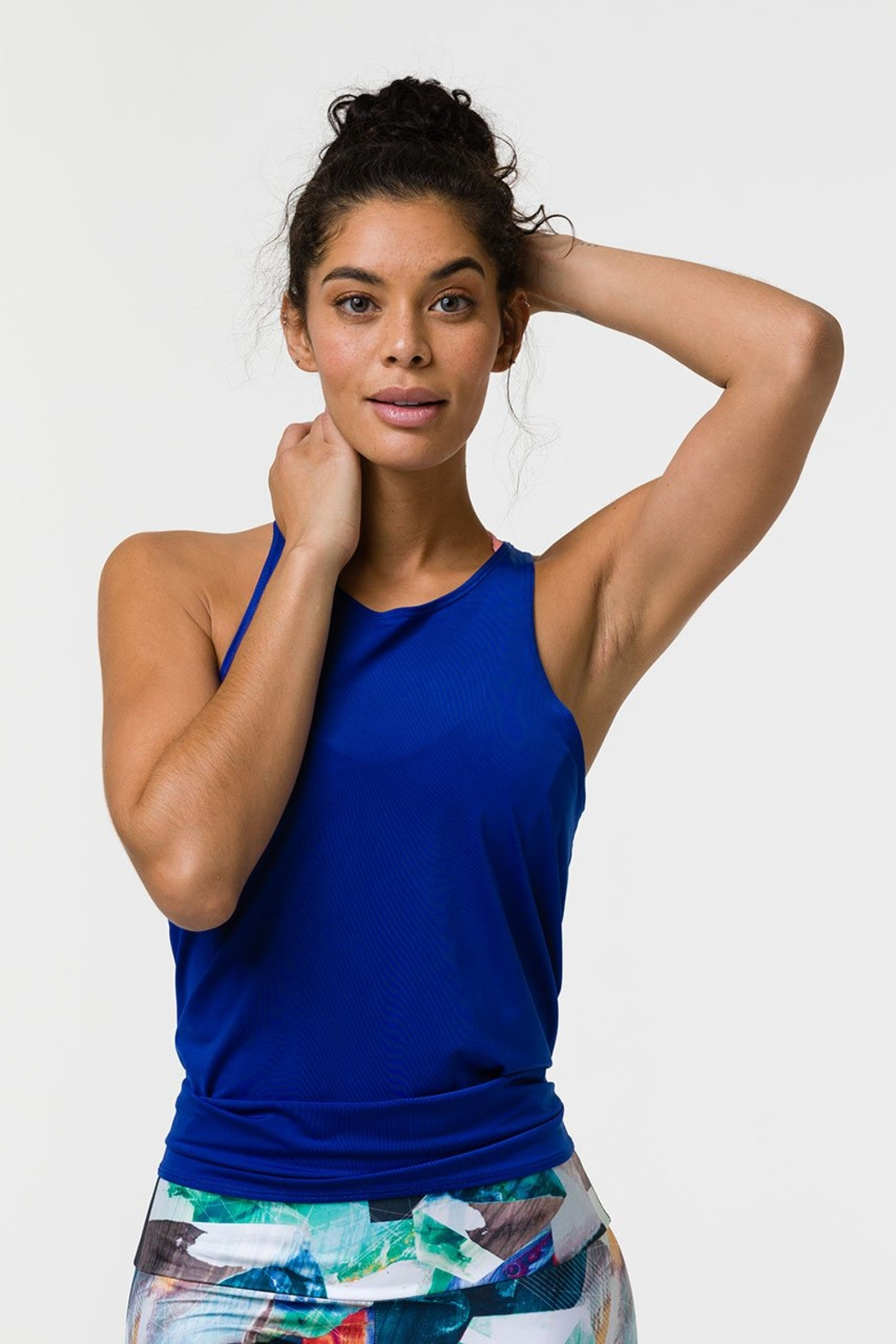 Onzie Tie Back Tank Top - Royal Blue - Front Full Image