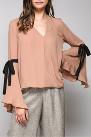 Do & Be Tie Bell Sleeve V Neck Top - Product Mini Image