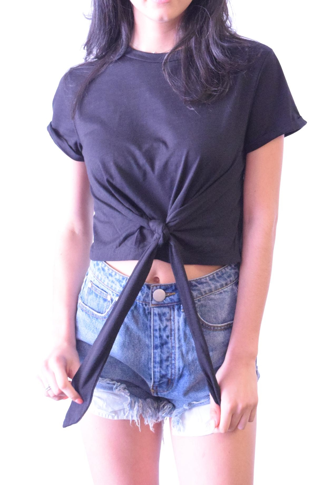 Wasabi + Mint Tie Bottom Tee - Front Cropped Image