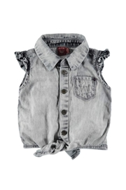 Babyface Tie Denim Blouse - Front cropped