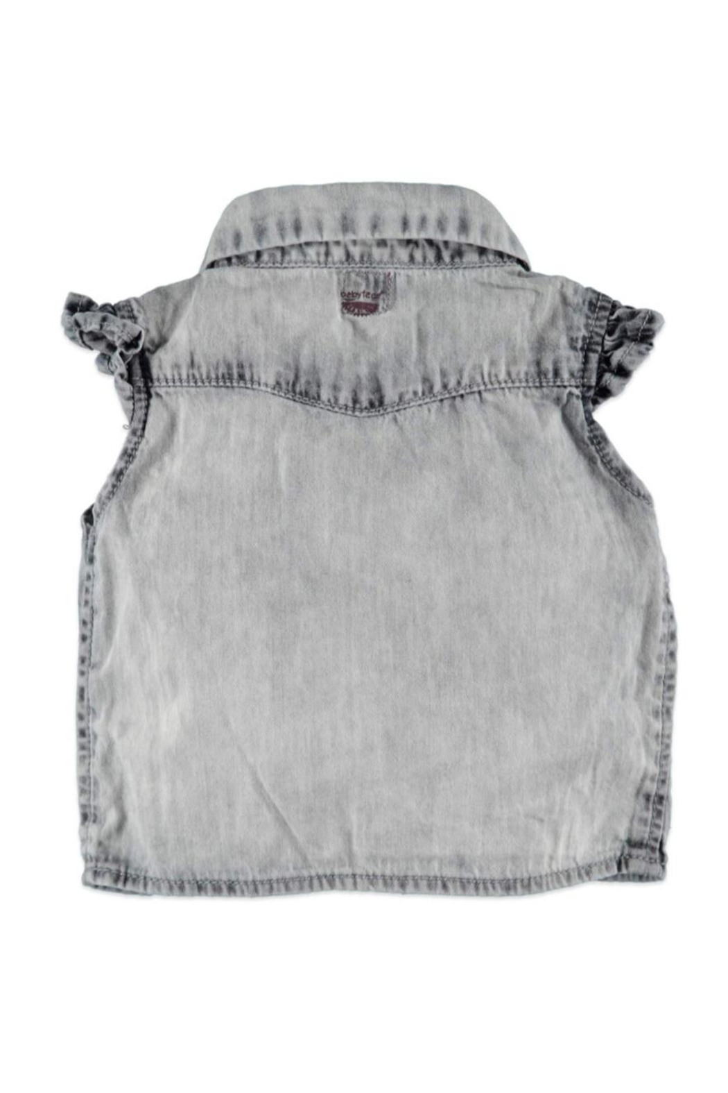 Babyface Tie Denim Blouse - Front Full Image