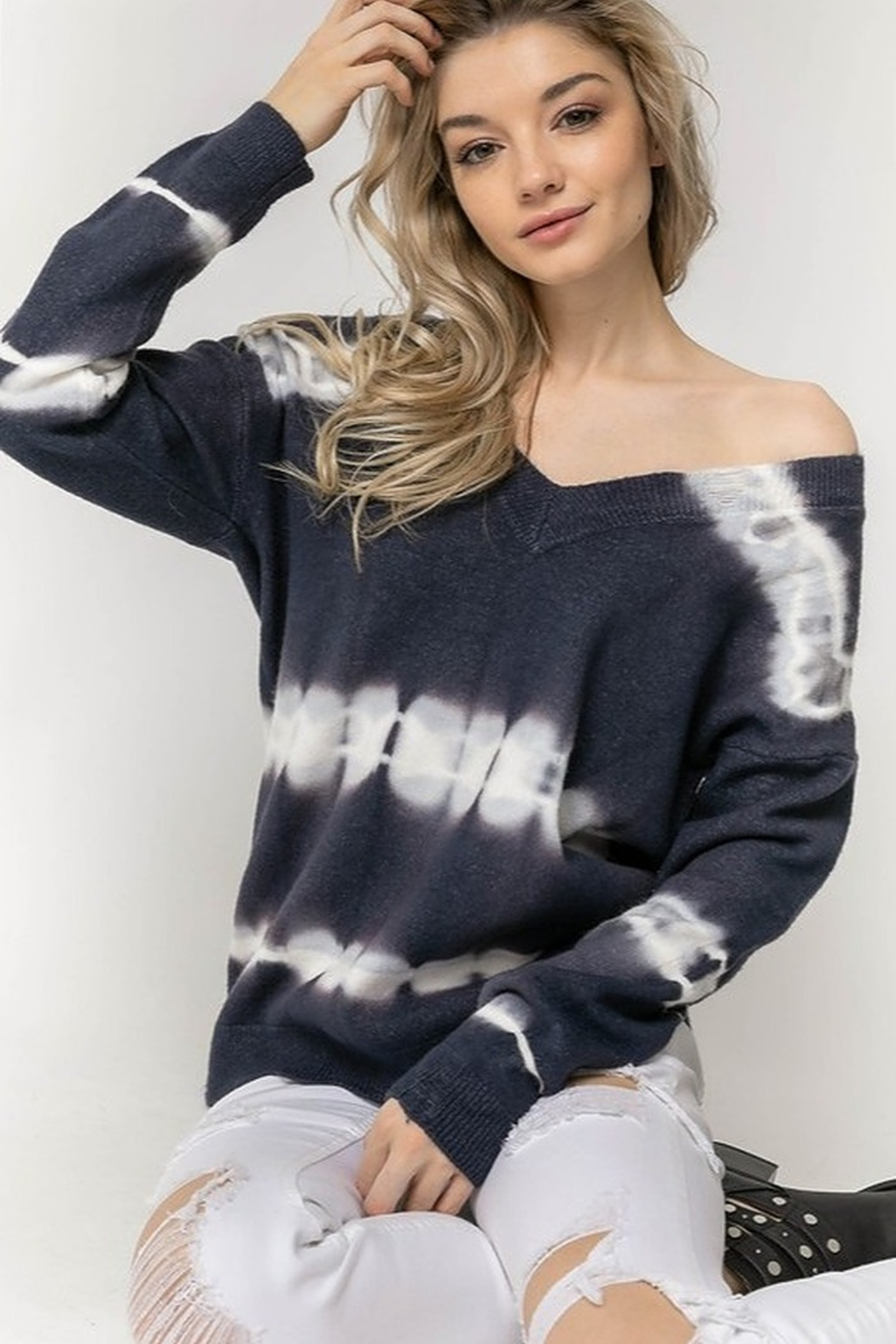 Davi & Dani Tie Dye Accent Sweater - Front Cropped Image