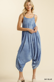umgee  TIE DYE ADJUSTABLE SPAGHETTI STRAP JUMPSUIT - Front cropped
