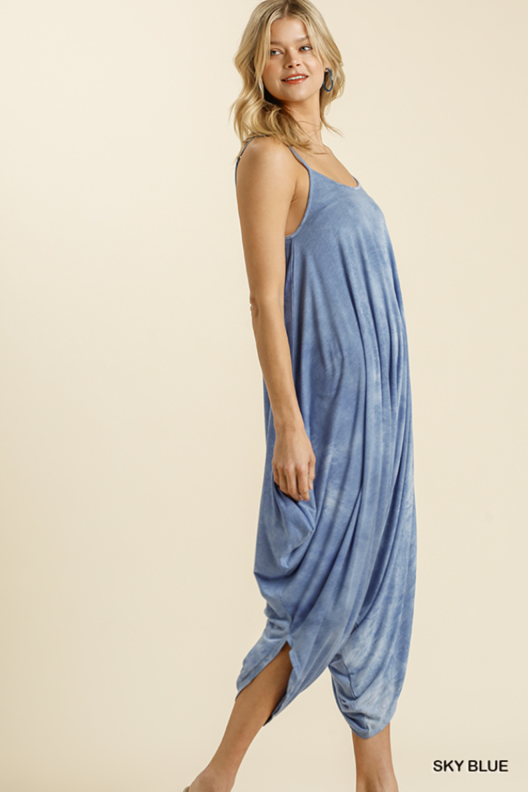 umgee  TIE DYE ADJUSTABLE SPAGHETTI STRAP JUMPSUIT - Side Cropped Image