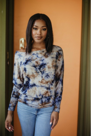 Veronica M Tie Dye Banded Top - Product Mini Image