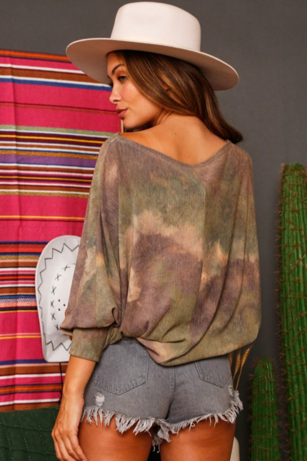Fantastic Fawn Tie Dye Batwig Sleeve Top - Front Full Image