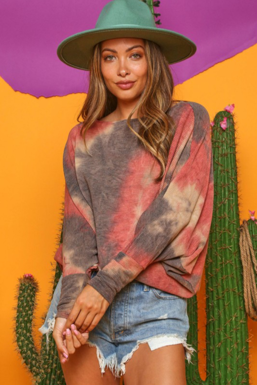 Fantastic Fawn Tie Dye Batwig Sleeve Top - Front Cropped Image