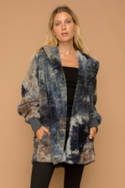 Hem and Thread Tie Dye Bear Coat - Front cropped