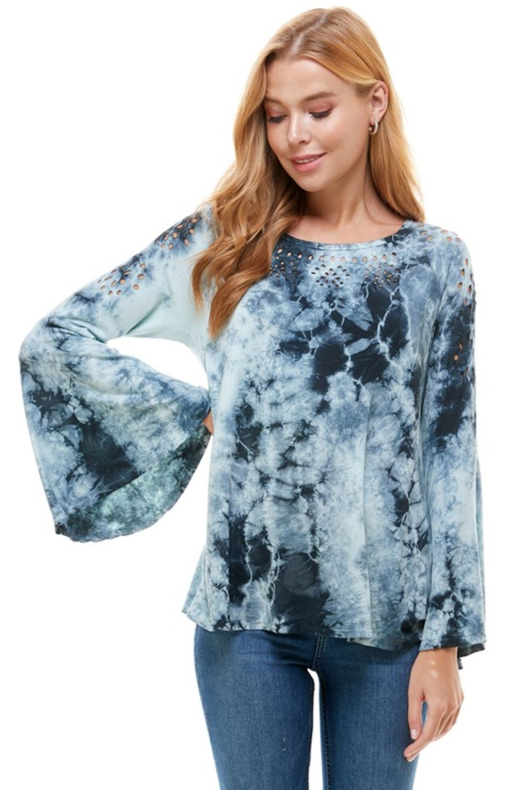 T Party Tie Dye Bell Sleeve Top - Main Image