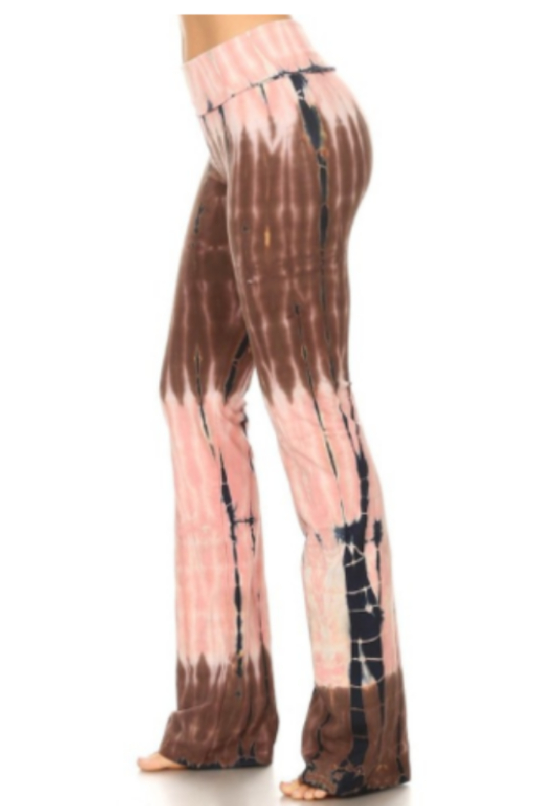 T Party Tie Dye Boot Cut Yoga Pant - Front Full Image