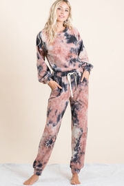 Bibi Tie Dye Brushed Terry Top and Bottom Lounge Set - Front cropped