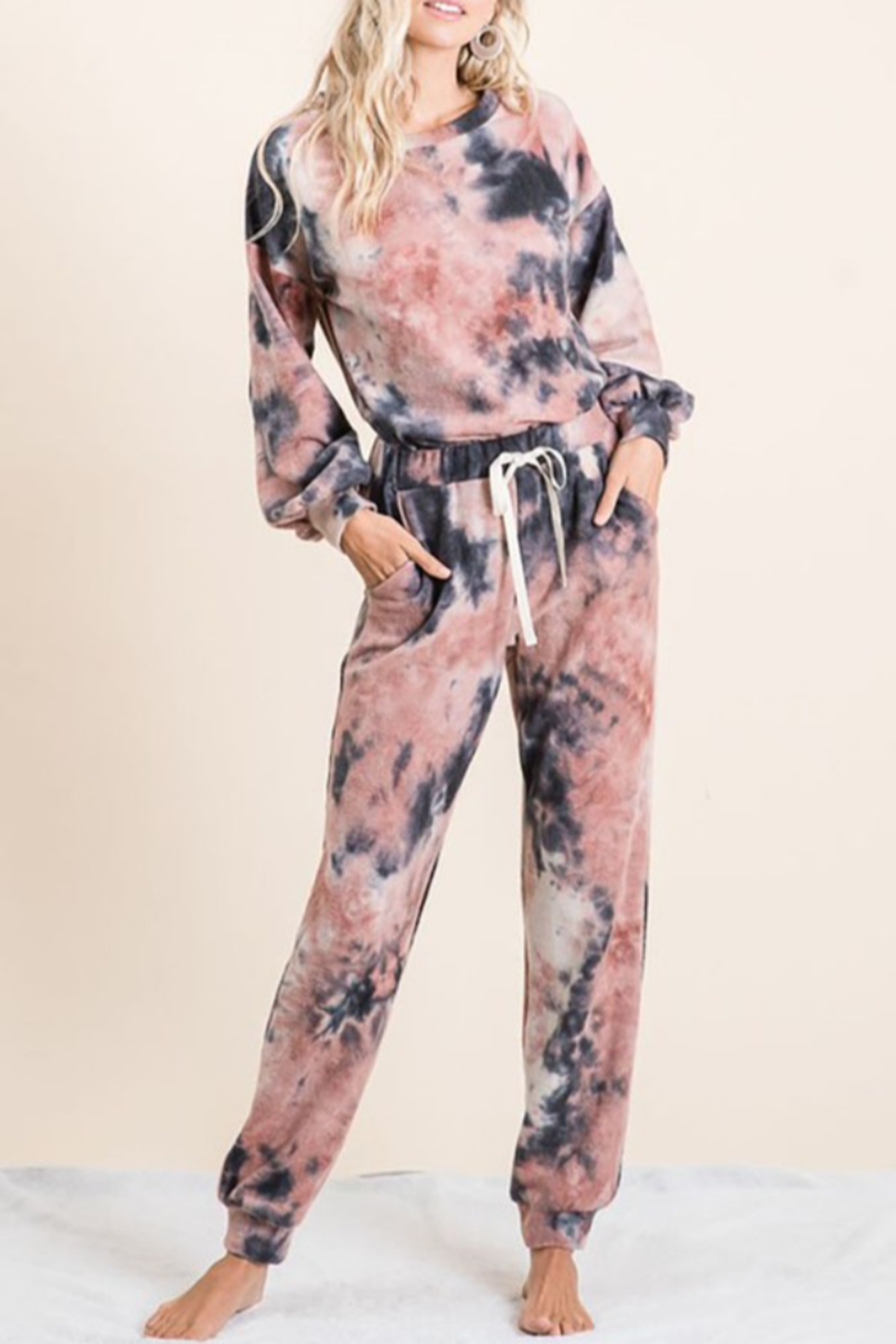 Bibi Tie Dye Brushed Terry Top and Bottom Lounge Set - Front Cropped Image