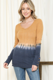 Able USA Tie Dye Button Cuff Detail Top - Product Mini Image