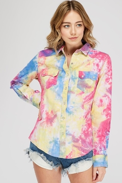 Shoptiques Product: Tie-Dye Button Top