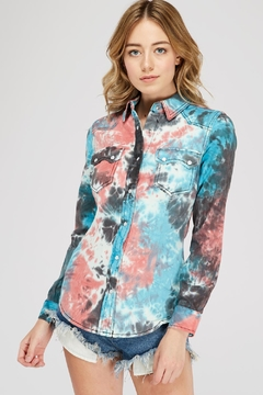 Shoptiques Product: Tie-Dye Button-Up Shirt
