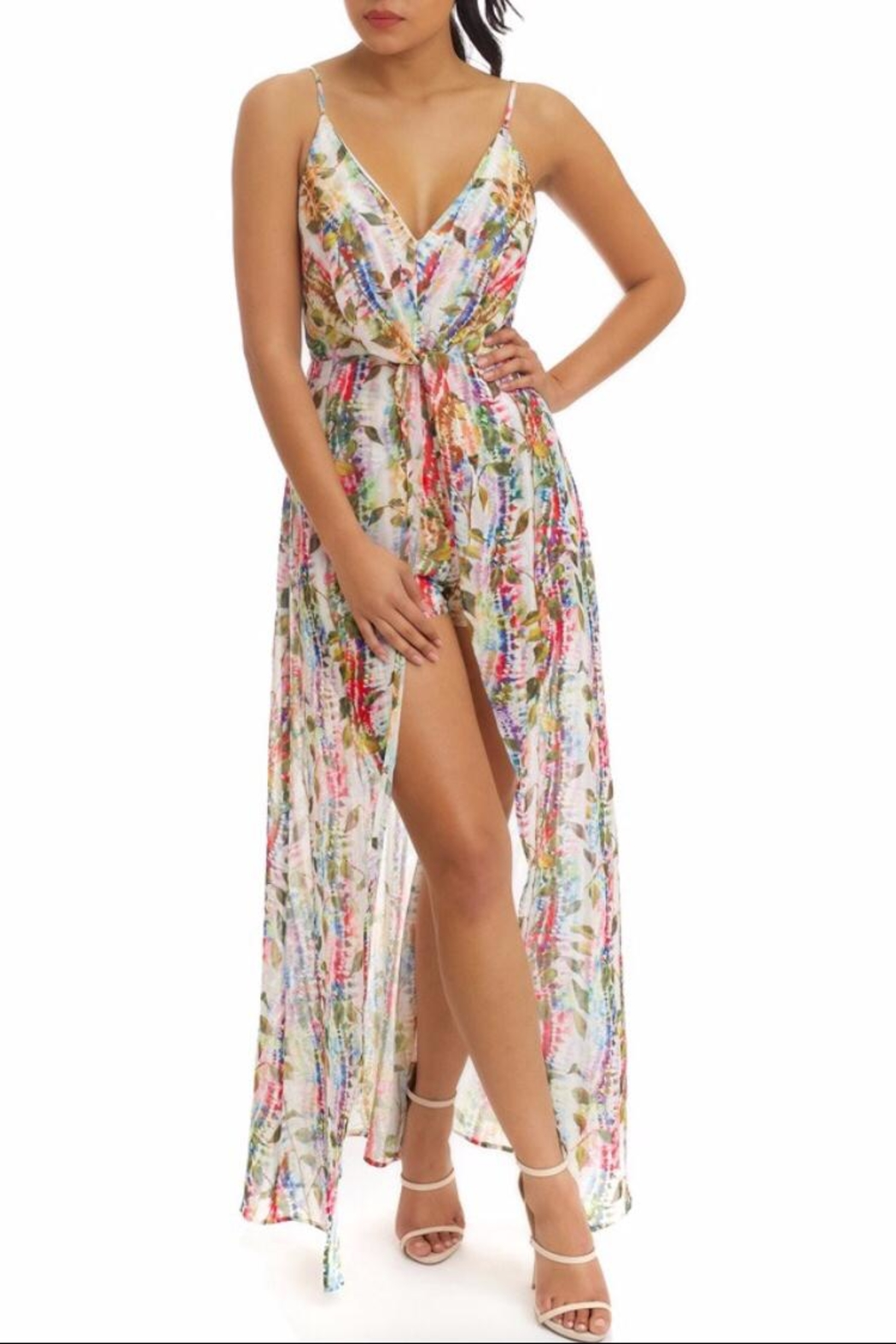 luxxel Tie-Dye Chiffon Dress - Main Image